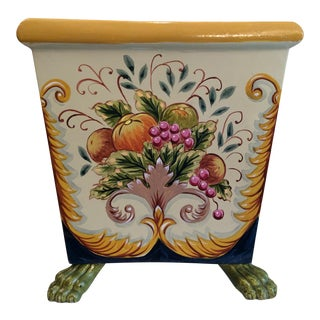 1990s Vintage Horchow Hand Painted Footed Planter For Sale