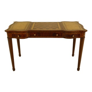 Maitland Smith Leather Reversible Top Mahogany Game Table For Sale