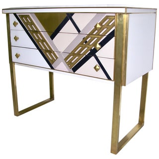 1990s Italian White Black and Gold Chest Sideboard on Brass Legs For Sale