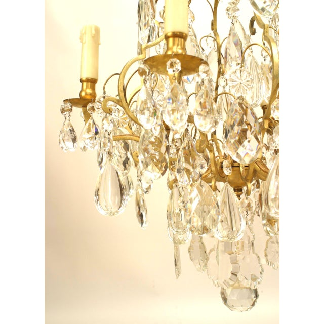 French 19th Century French Louis XV Style Bronze and Crystal Chandelier For Sale - Image 3 of 5