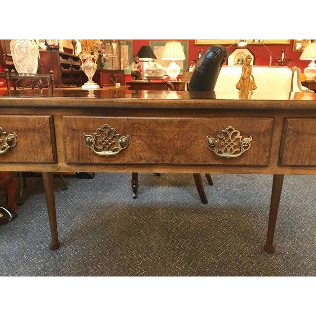 Baker Furniture Burl Walnut Writing Table Desk - Image 4 of 10