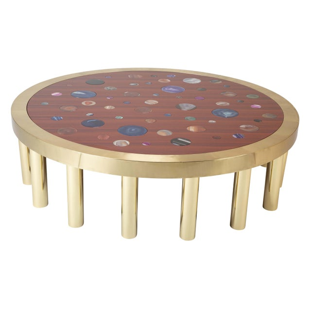 Large Agate Inlaid Sapelle and Brass Coffee Table For Sale - Image 4 of 12