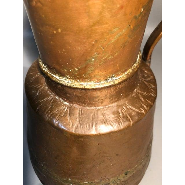 Mid 19th Century Primitive 19c Pitcher Hand Hammered Copper Brass Large Moonshine Still Jug Kettle Pot Vase For Sale - Image 5 of 10