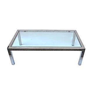 Pace Chrome & Glass Top Coffee Table For Sale