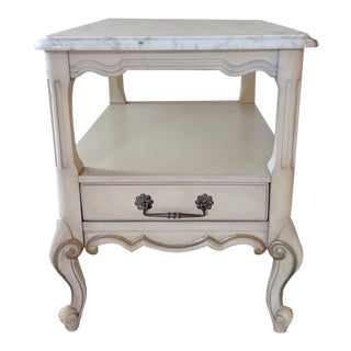 Vintage French 1960's Side Table Accented With Italian Marble For Sale