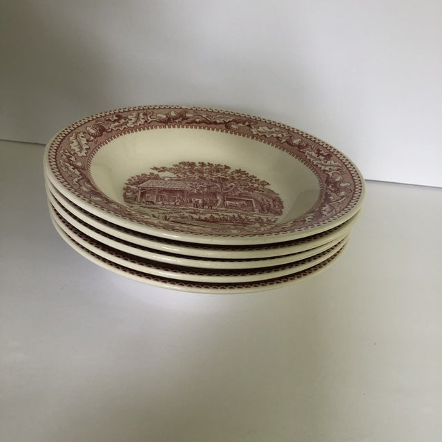 White 1960's Royal Ironstone Red Transfer Ware Soup Bowls S/5 For Sale - Image 8 of 8