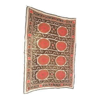 Vintage Hand Embroidered Suzani Throw Rug Bed Cover For Sale