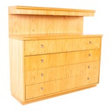 Image of Mid Century Jack Cartwright for Founders Lighted Blonde Maple 4 Drawer Low Dresser Chest For Sale