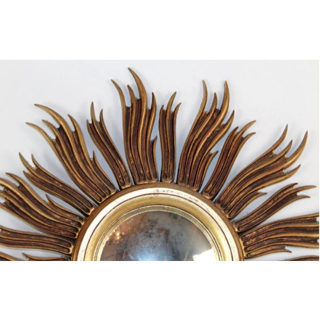 Vintage French Mid-Century Gilt Sunburst Mirror For Sale - Image 4 of 6