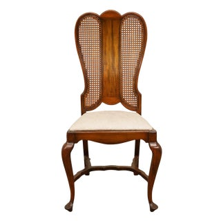 Late 20th Century High End English Revival Queen Anne Cane Back Dining Side Chair For Sale