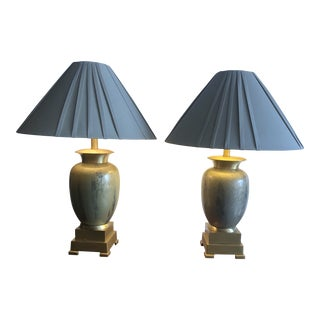 Enameled Brass Table Lamps - a Pair For Sale