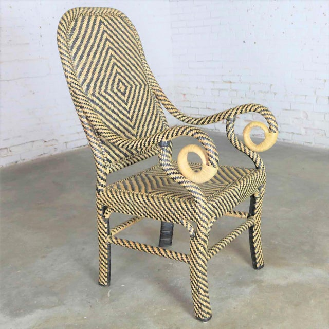 Two-Tone Chevron Pattern Rattan Wicker Tall Back Chair With Spiral Arms For Sale - Image 13 of 13