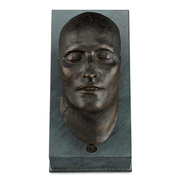 This captivating bronze death mask of the Emperor Napoleon I is cast from the mold created by Dr. Francesco Antommarchi,...