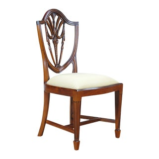 Drape Carved Shield Back Side Chair For Sale