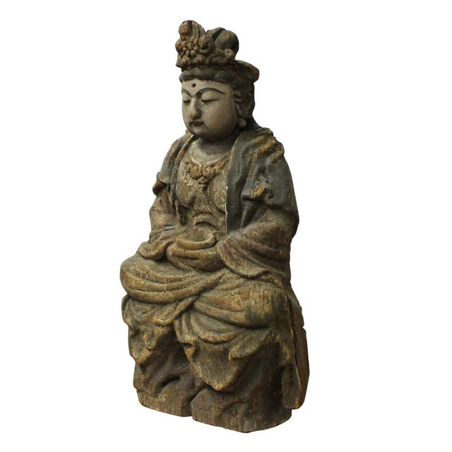 Chinese Rustic Wood Sitting Kwan Yin Statue For Sale - Image 5 of 6
