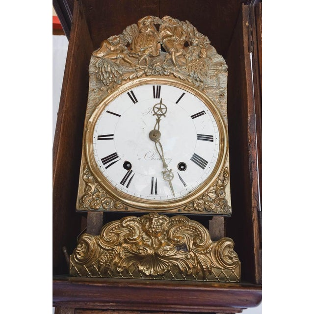 Brown Carved 18th C French Lantern Clock Case With Movement For Sale - Image 8 of 13