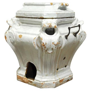 19th Century French Earthenware Censer or Small Stove For Sale