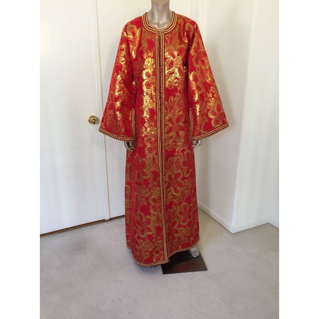 Vintage 1970s Moroccan Kaftan Red and Gold Floral Brocade Caftan Maxi Dress For Sale - Image 9 of 9