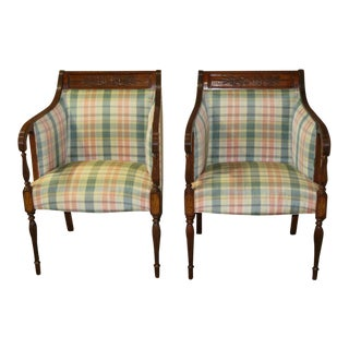 Inlaid Mahogany Southwood Federal Style Chairs - A Pair For Sale