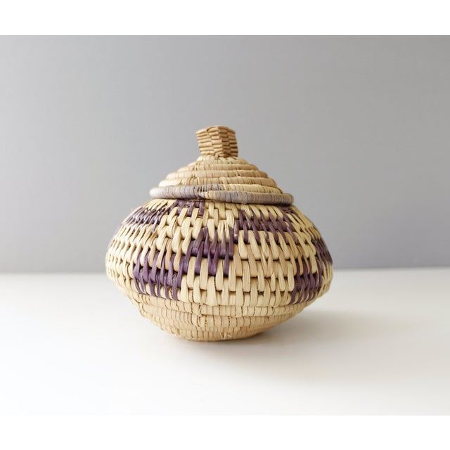 Vintage Woven Coil Basket With Round Purple Lid - Image 2 of 6