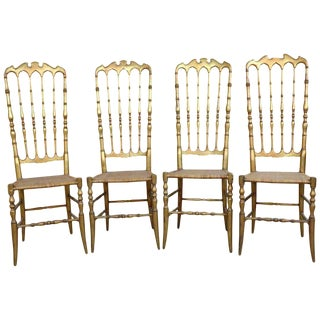 19th Century Italian Set of Four Turned and Gilded Wooden Famous Chiavari Chairs For Sale