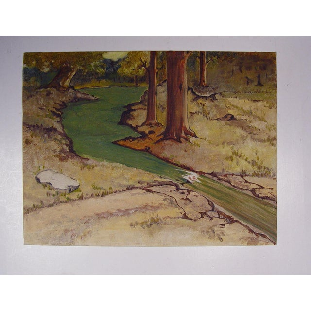 Oil painting on canvas board of a forest stream. Unsigned. Unframed. Edge wear.