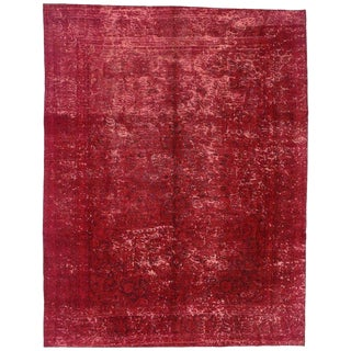 Vintage Turkish Industrial Luxe Style Red Area Rug - 9′5″ × 12′2″ For Sale