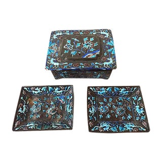 Antique Chinese Silver Enamel Box & Trays, S/3