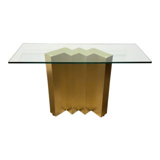 Modern 80's Console Table With Gold Metal Zig Zag Base, Glass Top For Sale
