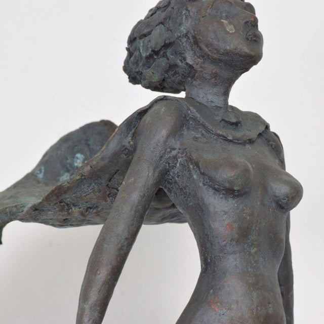 Metal Nude Female Gladiator Warrior in Flowing Cape Hair Bronze Sculpture For Sale - Image 7 of 11