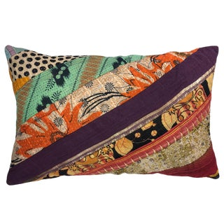 Colorful Patchwork Kantha Lumbar Pillow For Sale