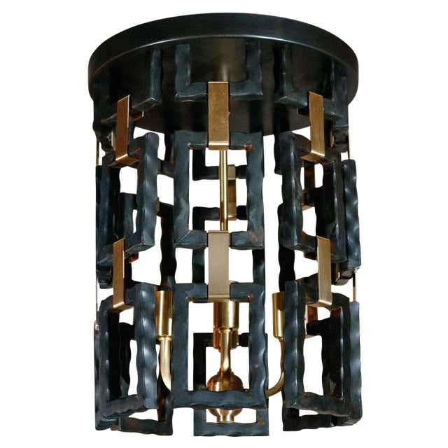Paul Marra Link Light Fixture in Brass and Oil Rubbed Bronze For Sale