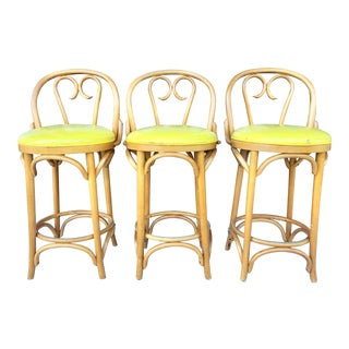 1980s Vintage Thonet Bentwood Style Counter Stools- Set of 3 For Sale