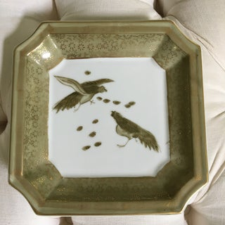 Chinese Hand Painted Celadon Green and Gold Birds on Clipped Edged Tray Preview