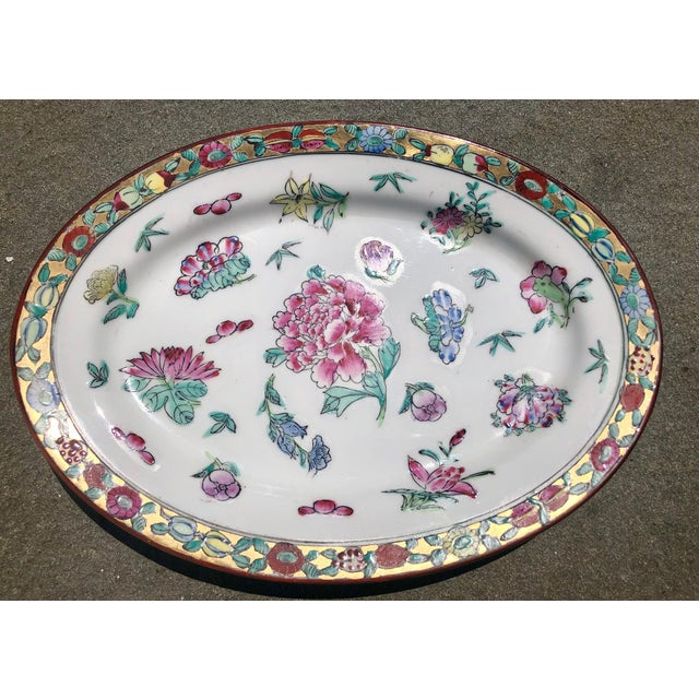 Colorful Floral Gilt Chinoiserie Peony Platter For Sale - Image 9 of 9