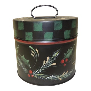 Vintage Round Tole Hand Painted Canister With Holiday Theme Hand Painted Details For Sale