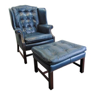 Classic Leather Chippendale Style Wing Chair & Ottoman - a Pair For Sale