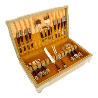 Asian Rosewood & Brass Flatware; Set of 8 For Sale