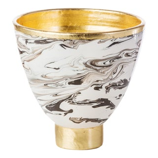 Roma Marble Cachepot with Gold Accents For Sale