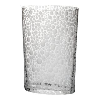 Carlo Moretti Millebolle Murano Clear Glass Hand Etched Vase For Sale
