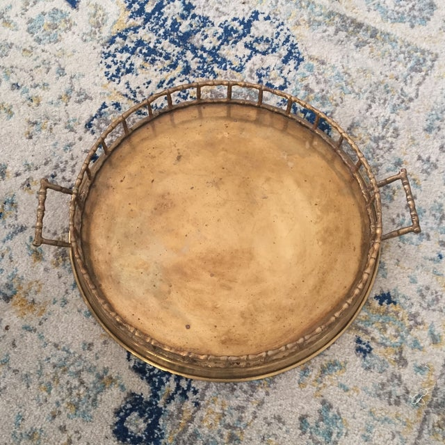 Brass Faux Bamboo Chinoiserie Tray - Image 6 of 9