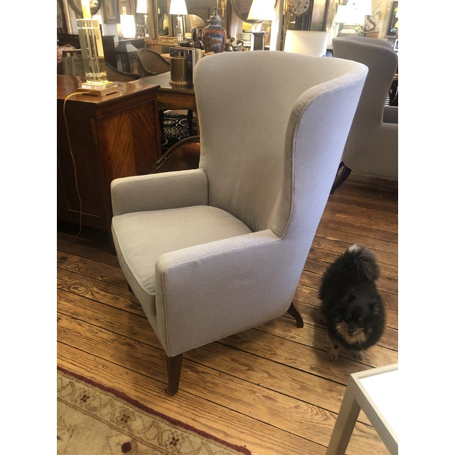 Flannel Upholstered Barrel Back Wing Chairs by Baker -A Pair For Sale - Image 10 of 13