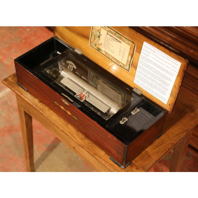 Traditional Large 19th Century Swiss Inlaid Walnut Cylinder Zither Music Box With 12 Songs For Sale - Image 3 of 11