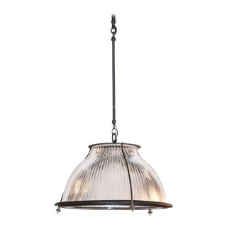 Glass and Metal Industrial Pendant Light Fixtures For Sale