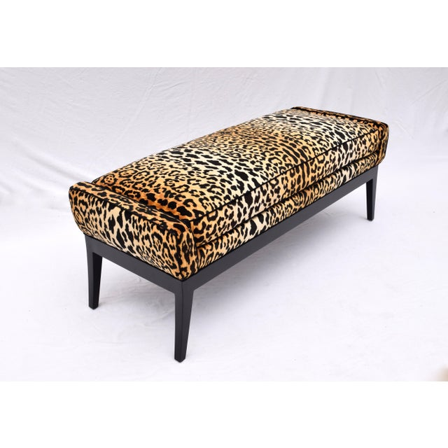 1970s Leopard Velvet Bench Attributed to Edward Wormley for Dunbar For Sale In Philadelphia - Image 6 of 11