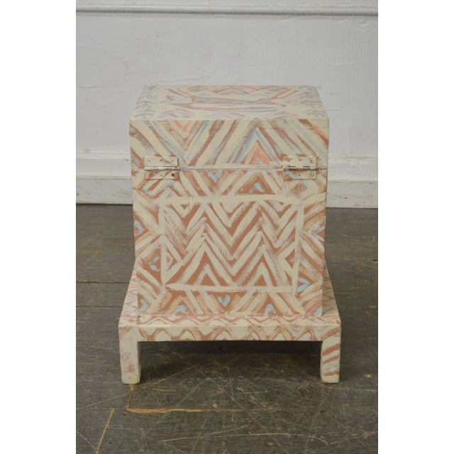 Hand Painted Folk Art Small Lift Top Chest For Sale - Image 4 of 11