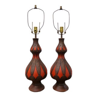 Vintage Fuggiti Mid Century Boho Chic Textured Lamps - a Pair For Sale