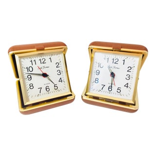 "Vintage ""Seth Thomas"" Wind Up Travel Alarm Clocks - Set of 2"