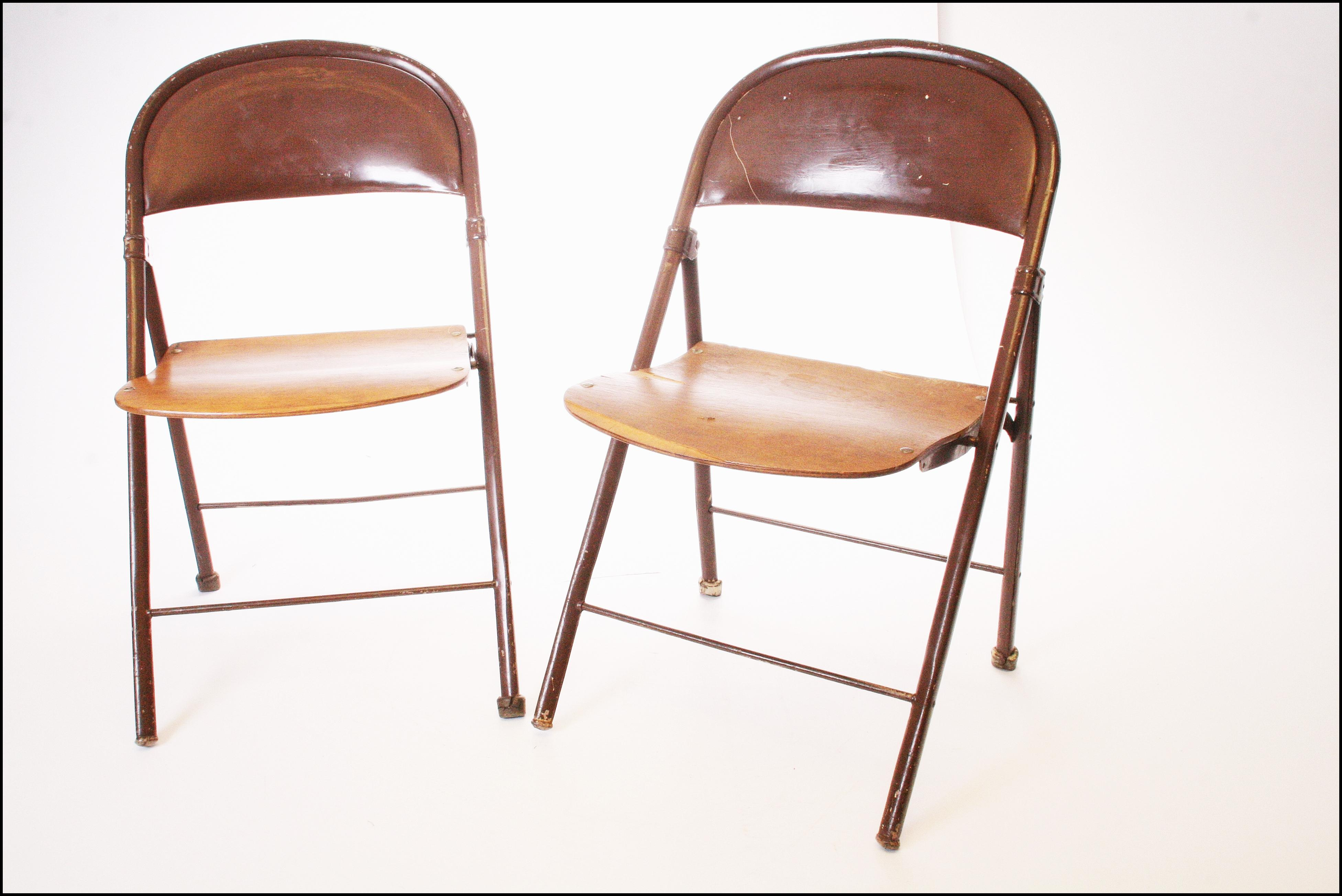 (2) Vintage Folding Chair Set. Beautiful Metal Chairs With Bentwood Seats  Removed From
