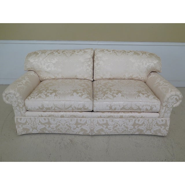 Modern Ej Victor Silk Damask Upholstered Sofa For Sale In Philadelphia - Image 6 of 11